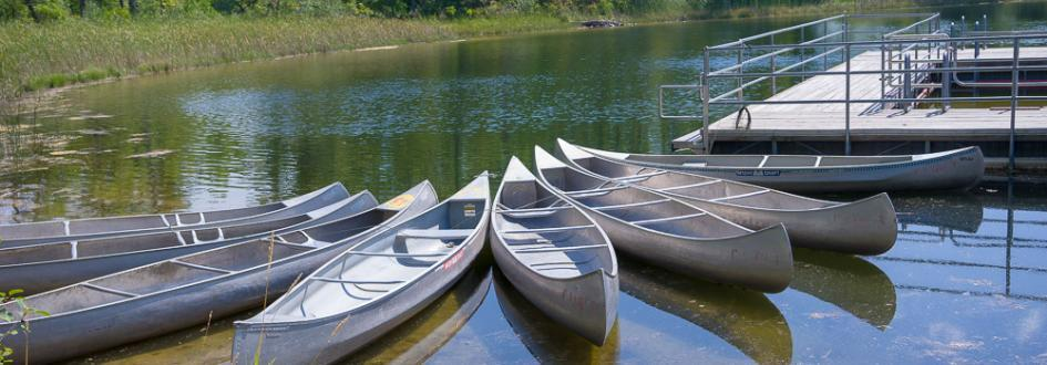 Eight gray canoes are lined up next to a dock on a lake.